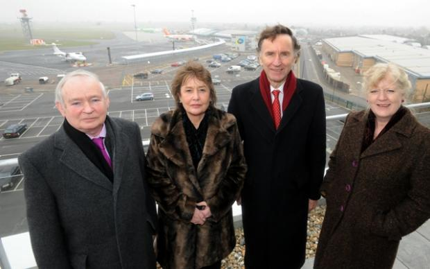 Lord Green, second from right, visits Southend Airport