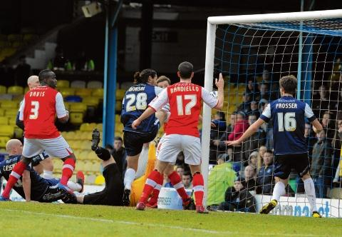 The equaliser - Bilel Mohsni felt he should have done better with Rotherham's goal