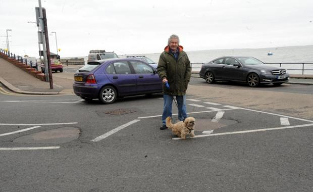 Resident Trevor Bell at the site of the traffic islands.