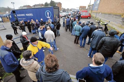 Queueing around the block - Blues fans wait for Wembley tickets