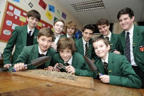 Heritage hunters - pupils at Southend High School for Boys who will be digging for relics