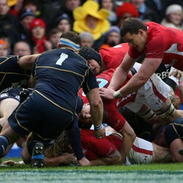 Richard Hibbard scores a try for Wales