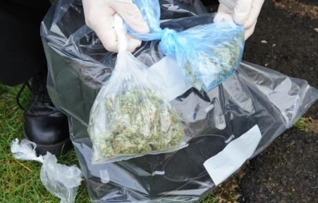 Police seize bags stuffed with drugs