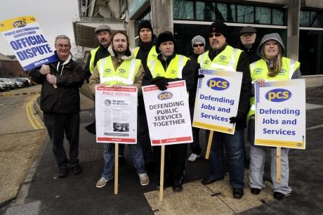 Hundreds take part in public sector strike