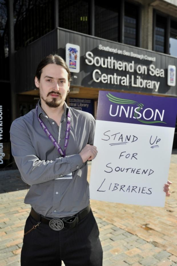 Assistant Unison branch secretary Peter outside Southend Library