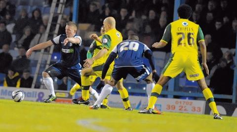 Freddy Eastwood battles for the ball