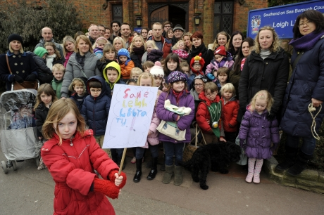 Save Leigh Library campaigners outside the Grade II listed building