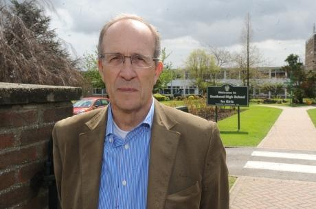 Echo: Ron Woodley, Independent councillor for Thorpe Bay, outside Southend High School for Girls
