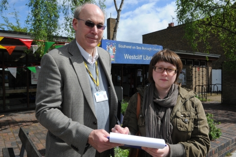 Paul Collins, councillor for Westborough, and Sarah Egholm, who is signing the petition