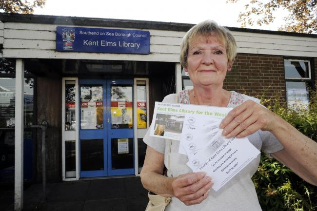 Pam Farley outside Kent Elms Library
