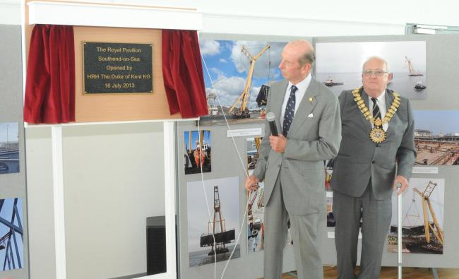 Duke of Kent unveiling the plaque next to Mayor Brian Kelly.