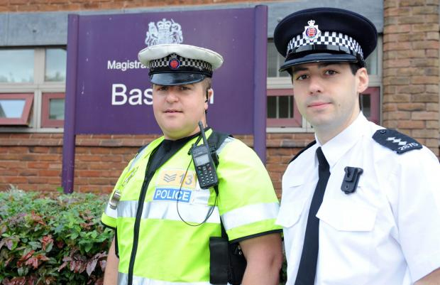 Crackdown – Sgt Simon Willsher, left, and Chief Insp Ben Hodder outside Basildon Magistrates' Court