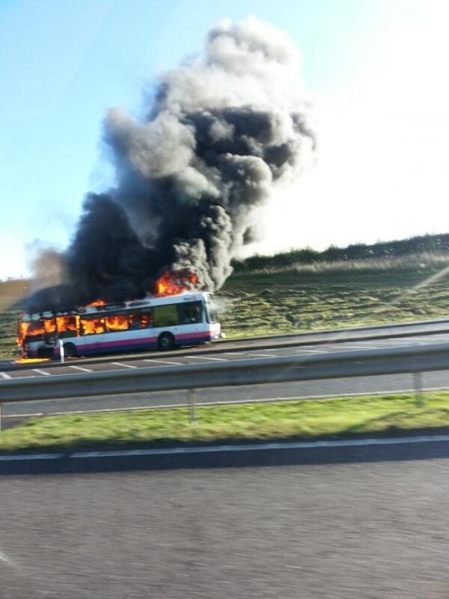 Bus fire causes gridlock