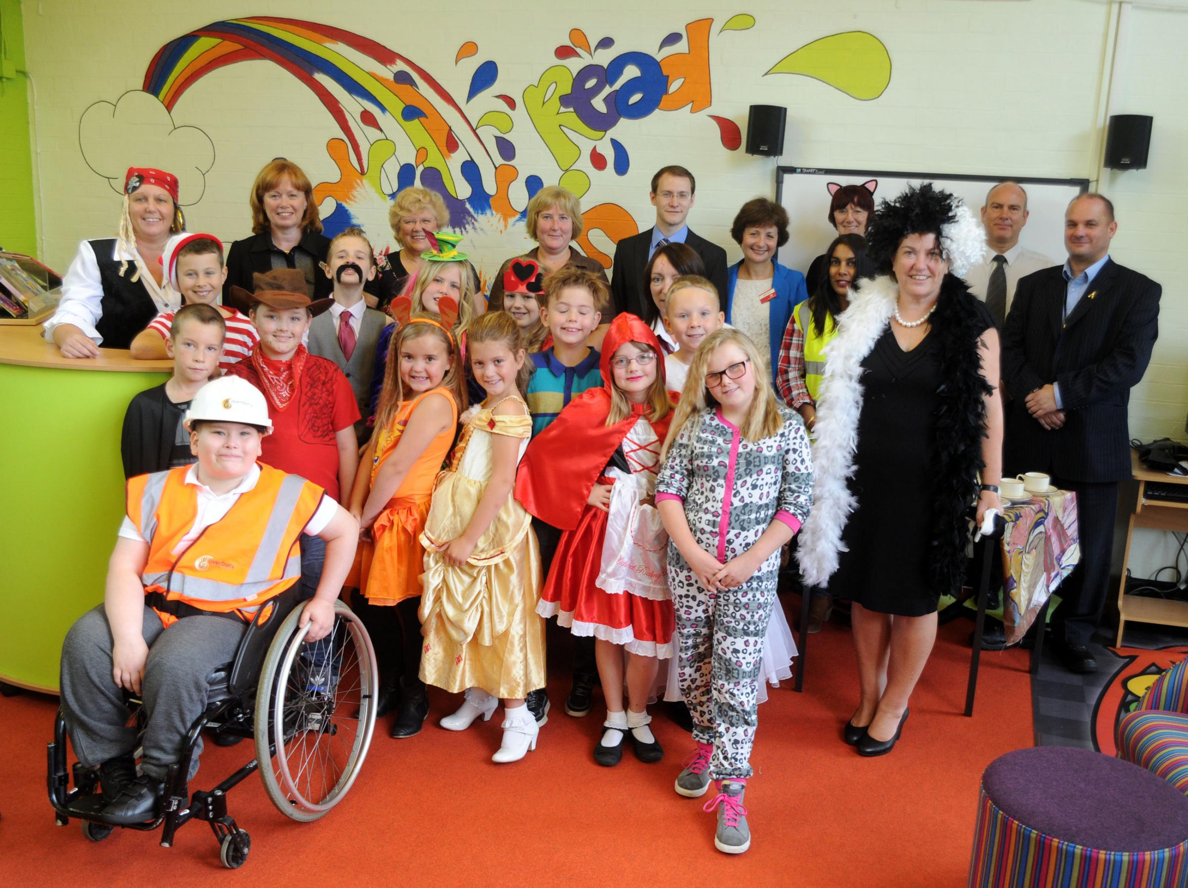 Pupils, staff, at Baroness Smith at the new library