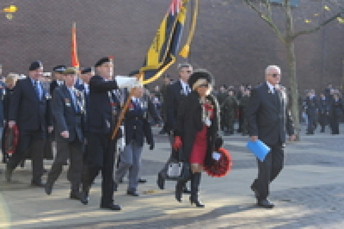 John Handley leads last year's Remebrance Sunday parade with mayor Mo Larkin