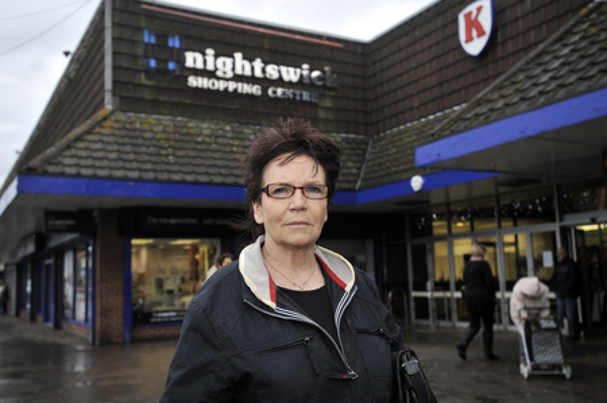 Outraged – Susan McClughen outside the Knightswick Centre