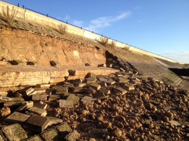 Echo: Vital seawall defence collapses on to Shoebury beach, leaving gaping hole