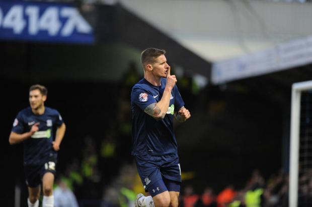 Barry Corr celebrates scoring against Millwall in the previous round