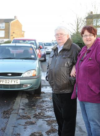 Chaotic – councillors Phil and Pat Rackley by parked cars in Long Riding