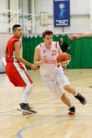 Coming through — Brad Wood in action for England under-17 at the Haris international tournament in Manchester