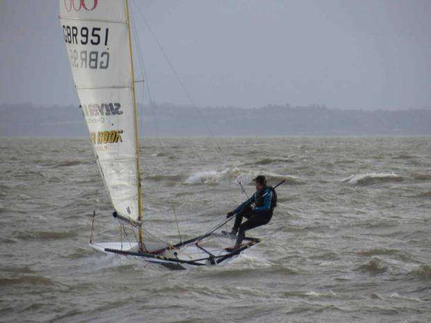 Choppy waters – but Mike Izatt remains in control of his RS600 in the Brass Monkeys race