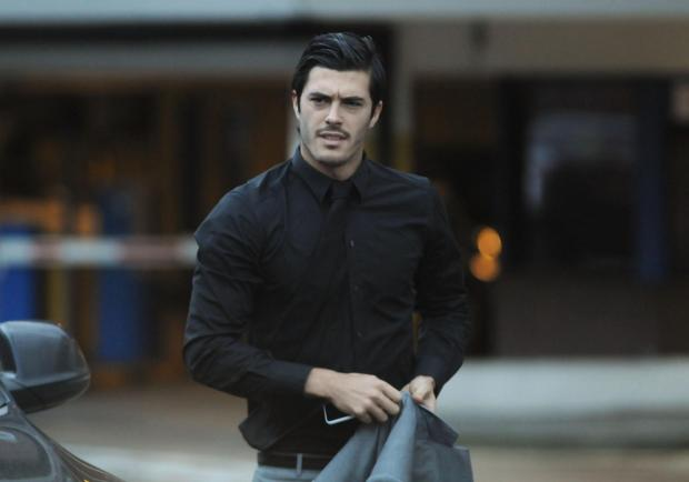 West Ham defender James Tomkins arriving at Basildon Magistrates' Court this morning. Pic: Paul Watson