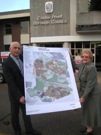 Shape of things to come? Councillors Pam Challis and Norman Smith with the plans