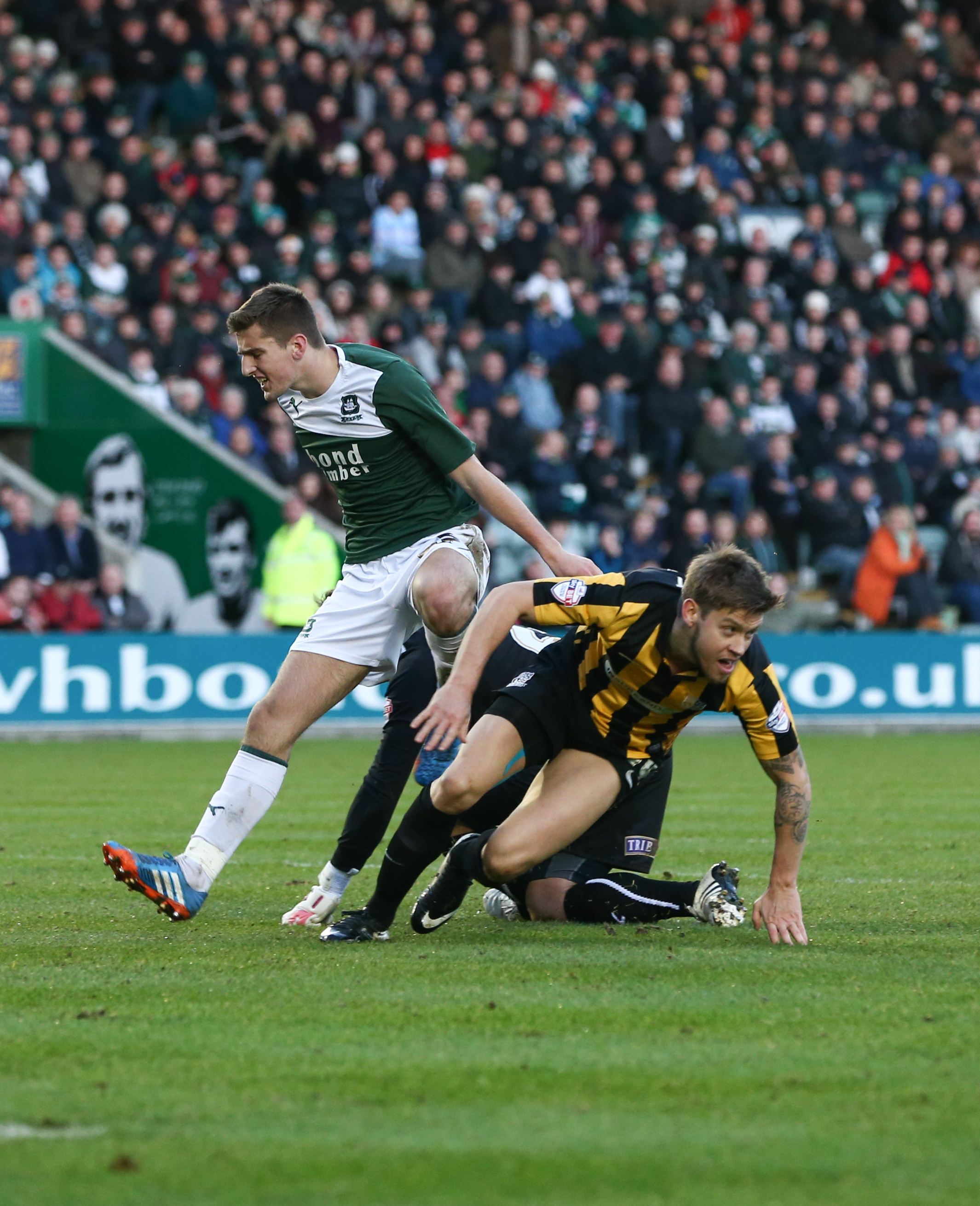 Kevan Hurst fires home on his return to the team at Plymouth Argyle