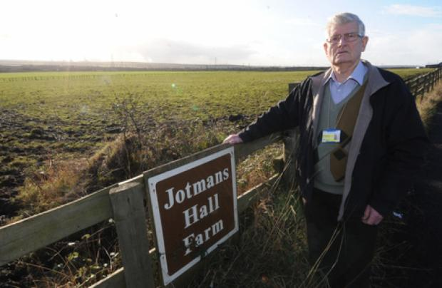 On the warpath – councillor Alf Partridge at green belt Jotmans Hall Farm, Benfleet