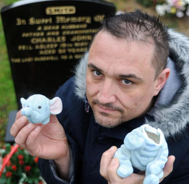 Devastated – Steve Smith by his grandfather's grave in Wharf Road cemetery