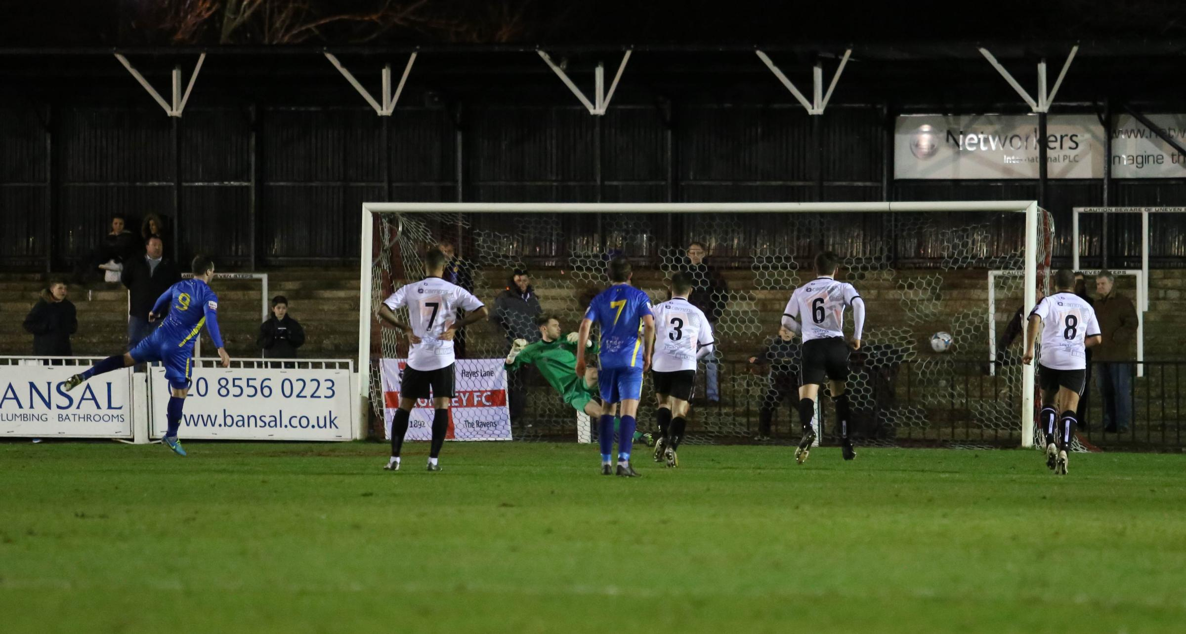 On terms — Sam Higgins equalises from the penalty spot for Concord Rangers