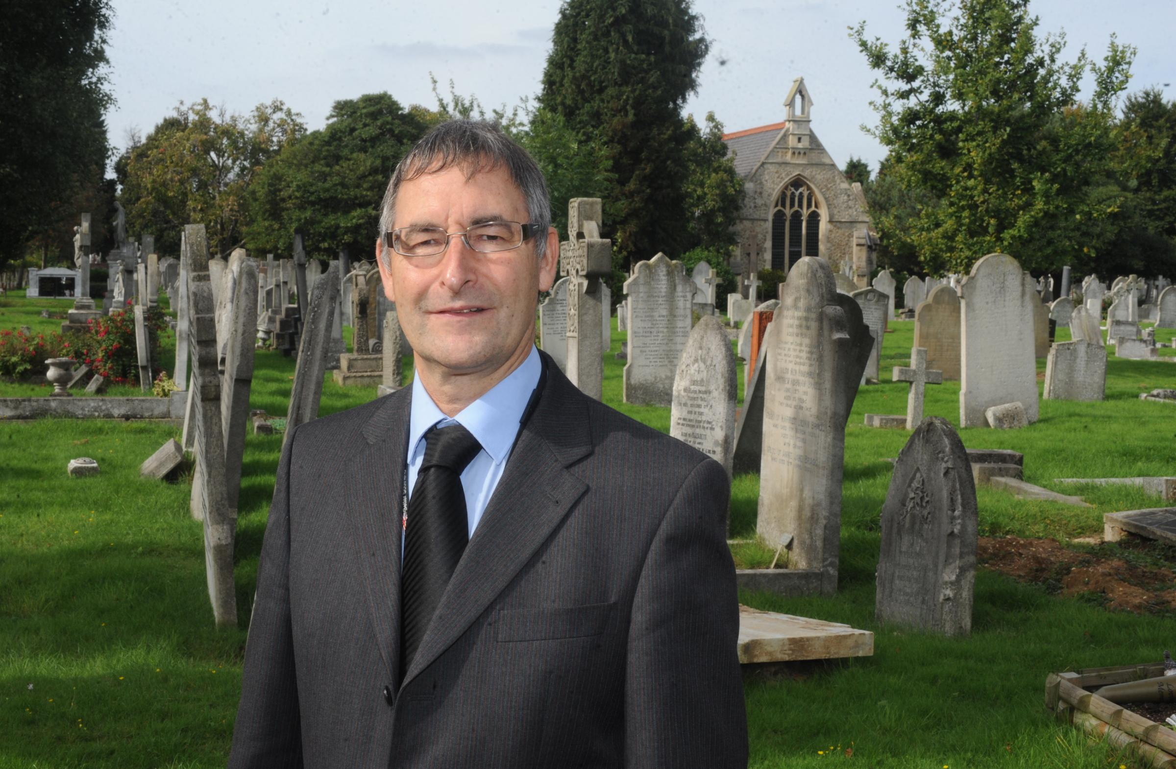 Andrew Moring at the Sutton Road cemetery