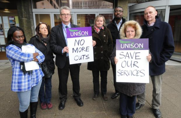 Members of Unison outside the Civic Centre
