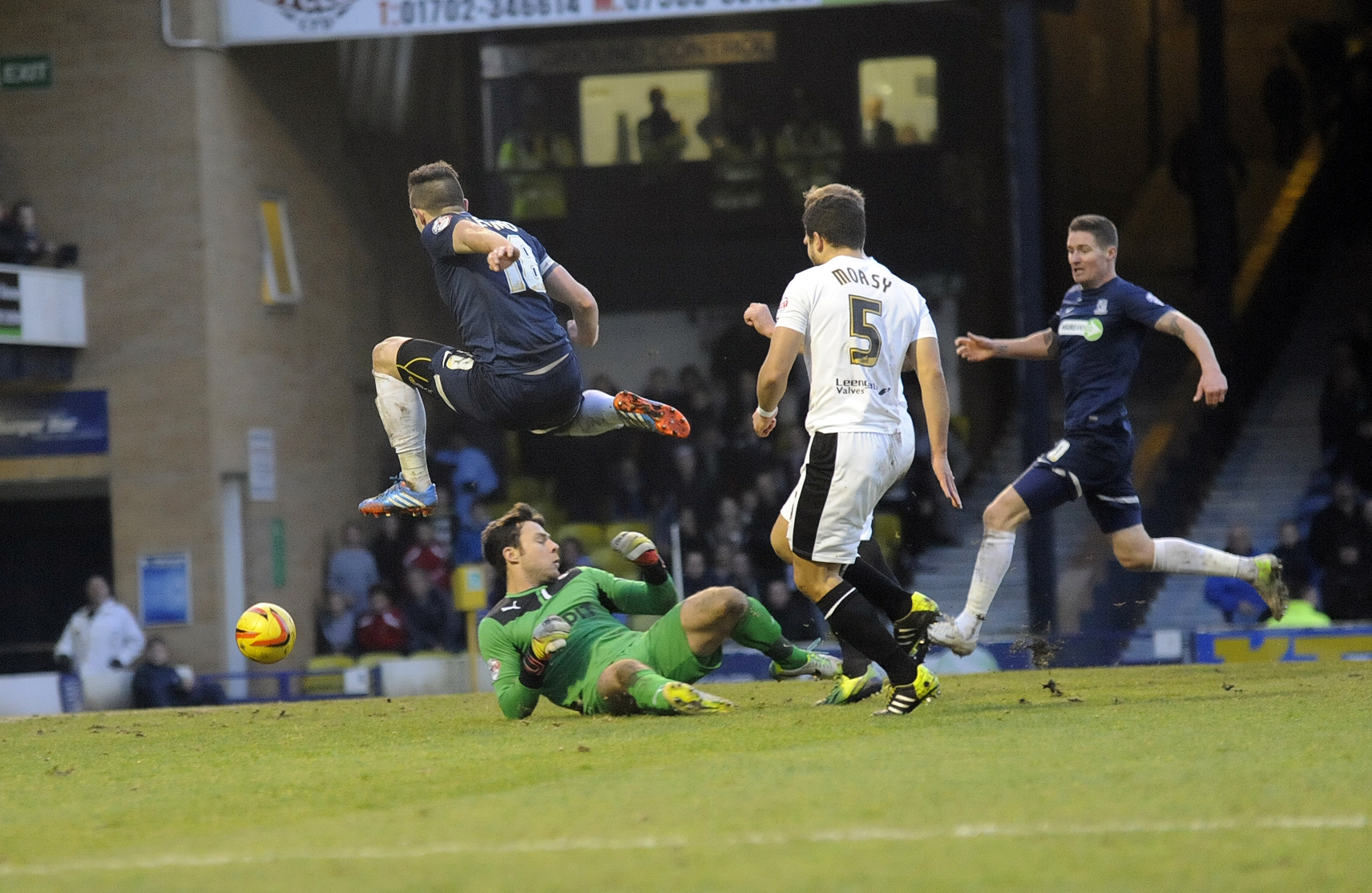 Ryan Leonard fires home Southend United's second goal against Chesterfield