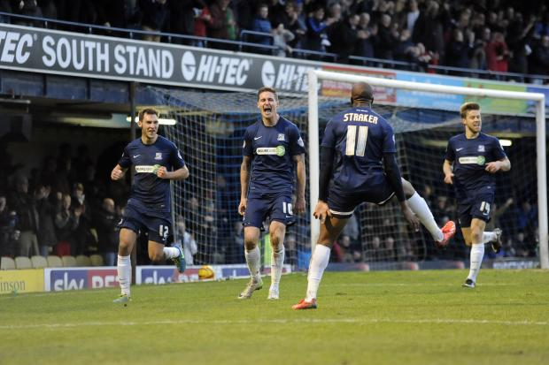 Barry Corr celebrates scoring against Chesterfield