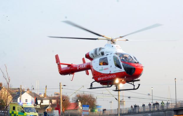 Echo: The air ambulance takes off from outside Leigh cocklesheds. Picture by Echo photographer Steve O'Connell