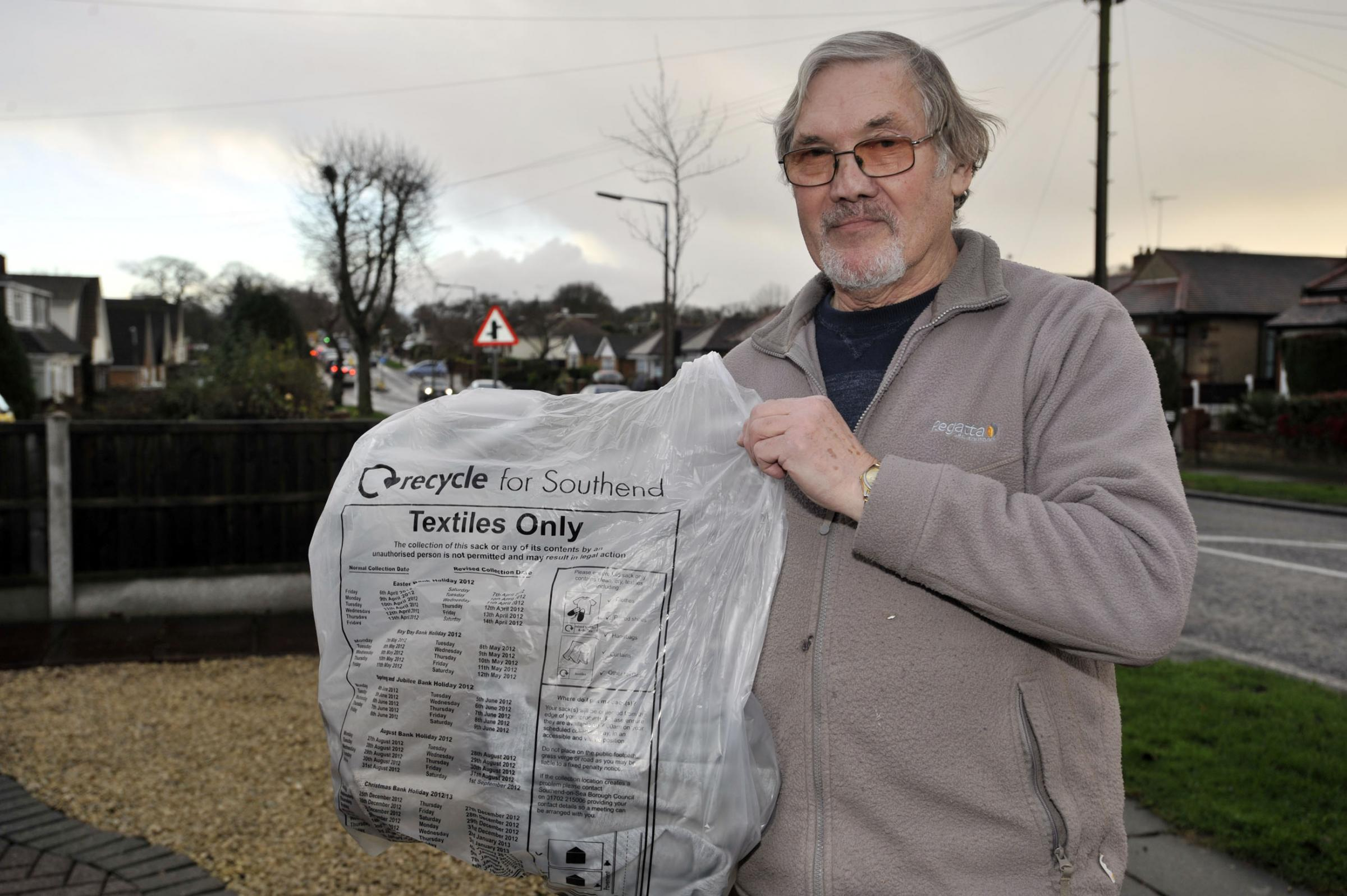 David Woods, of The Fairway, Eastwood, said he had seen a white van steal textile sacks every Monday for months
