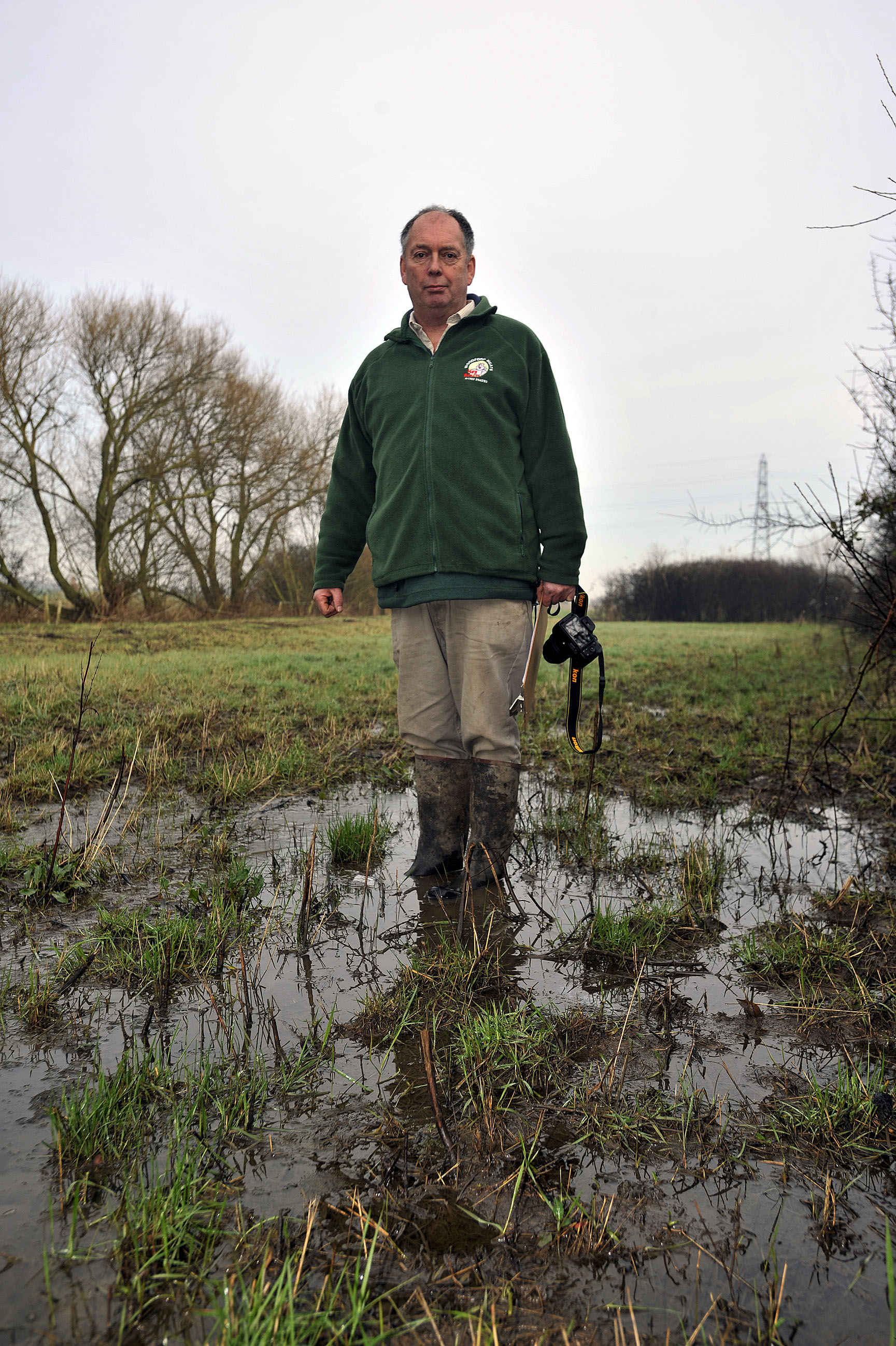 Problems - Paul Woodford in one of his flooded fields