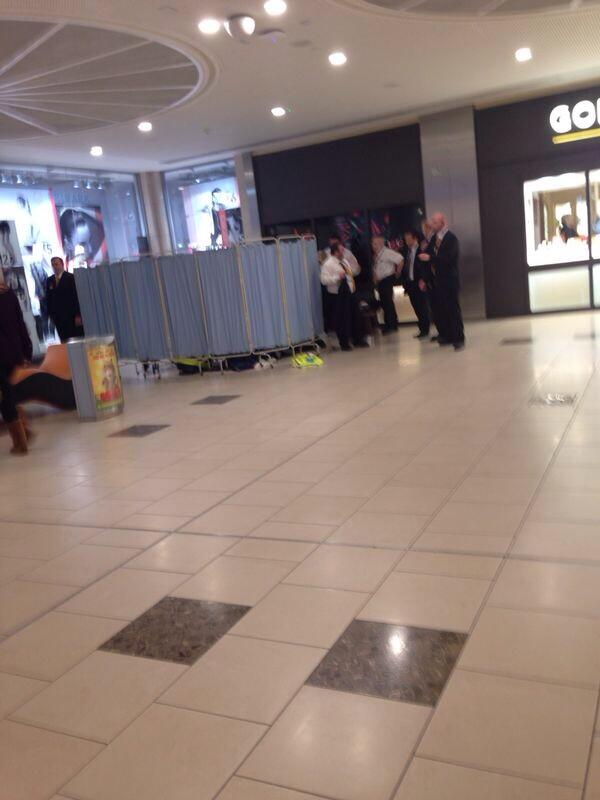 A section of the shopping centre was cordoned off as baby Deborah was delivered