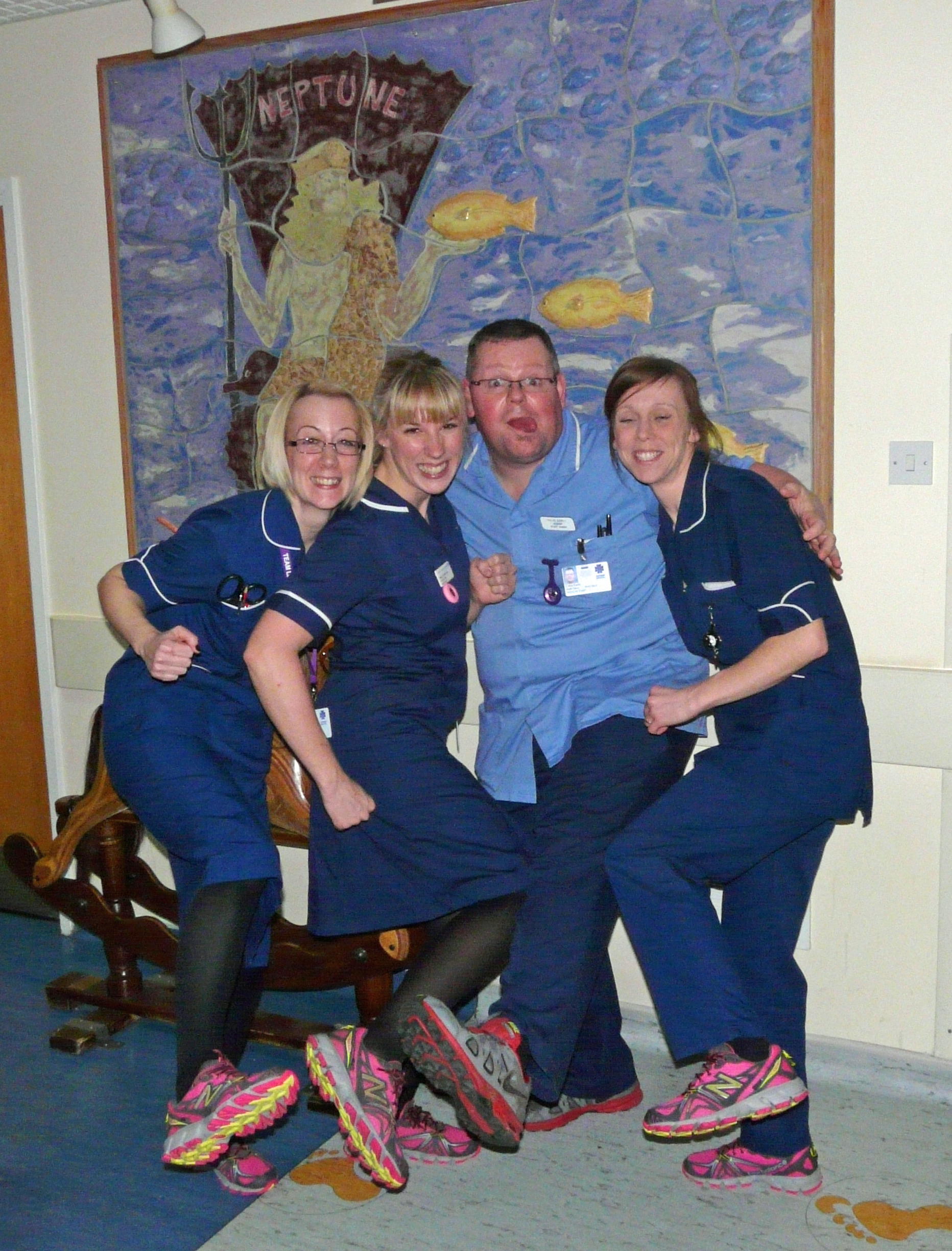 Neptune Ward nurses Claire Scott, Rebecca Simmonds, Joanne Baylis and Colin Early