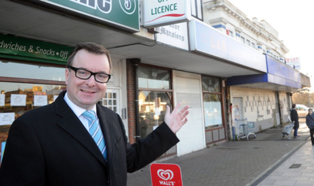 Councillor David Abrahall outside the Italian coffee shop site