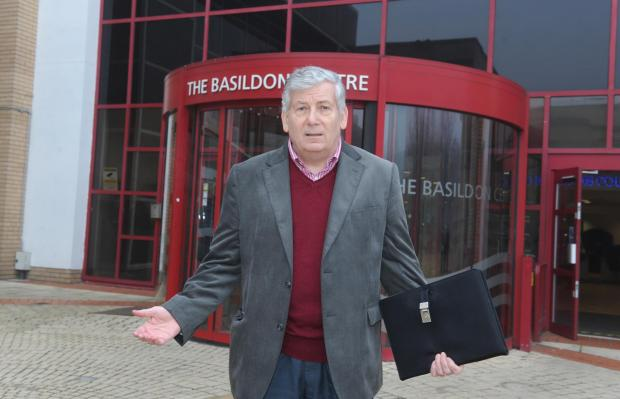 Labour leader Nigel Smith outside the Basildon Centre