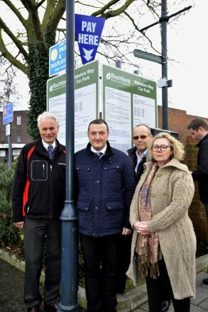 traders Colin Maclean, Carl Watson and Lesley Dunne with Rayleigh Chamber of Trade president, Jeff Stanton in Rayleigh's Websters Way car park