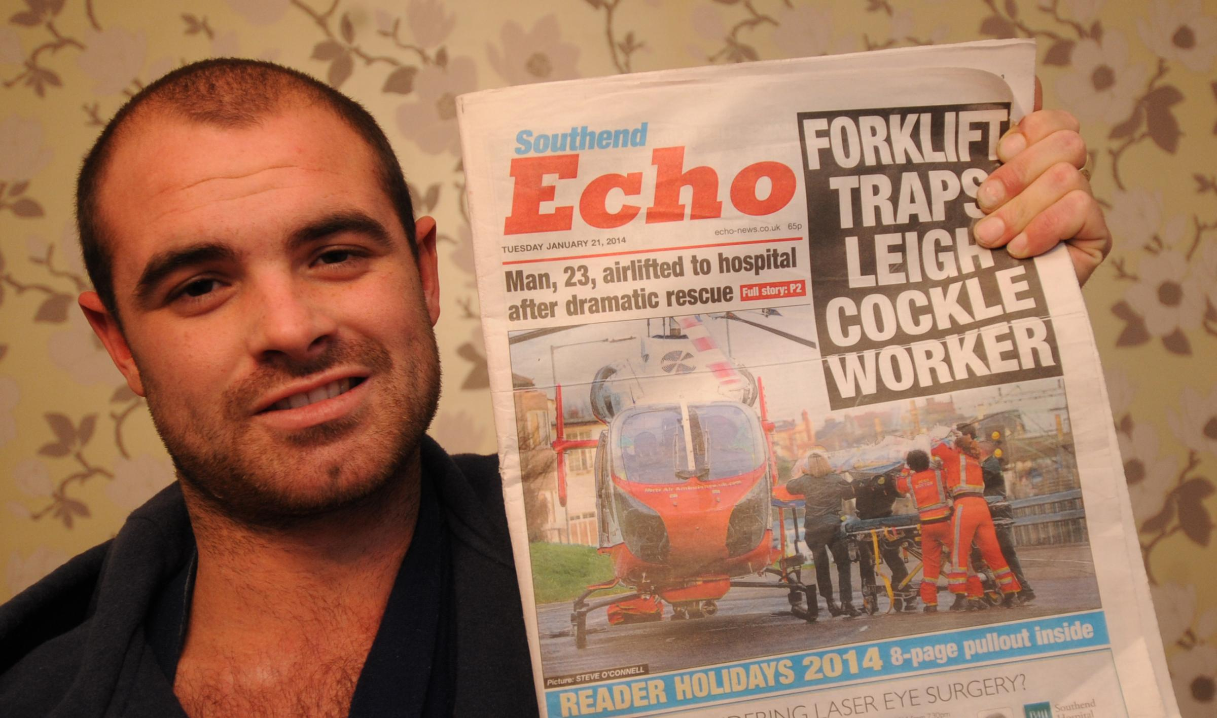 Mylo Browne with a Southend Echo front page from last week