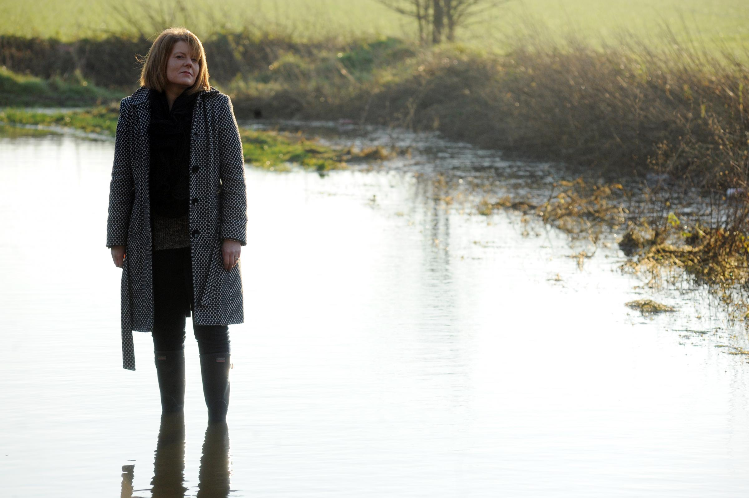 Ankle deep in water – Sarah Berry in Rebels Lane, Great Wakering