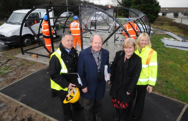 Ray Howard with new cycle parking. L-R:Lionel O'Hara, FALCO, Ray Howard, Trudi Bragg Castle Point Environmental services, and Jayne Sumner ECC Rail manager, with new bike shelter in background.