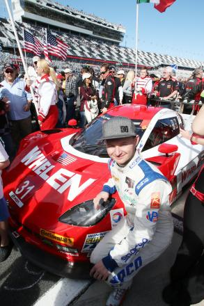 Ready to race — Bradley Smith on the grid at Daytona with the  Marsh Racing DP Chevrolet car