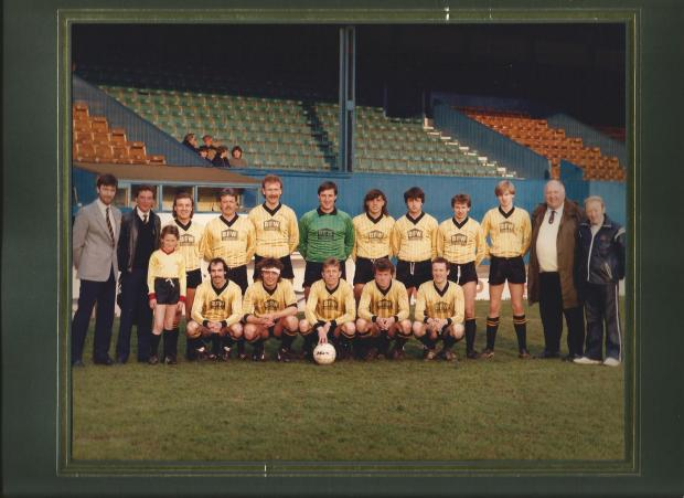 Glory days - John Welbourn, far left, with the Southend Manor team after the 1986 Charity A Cup Final at Roots Hall