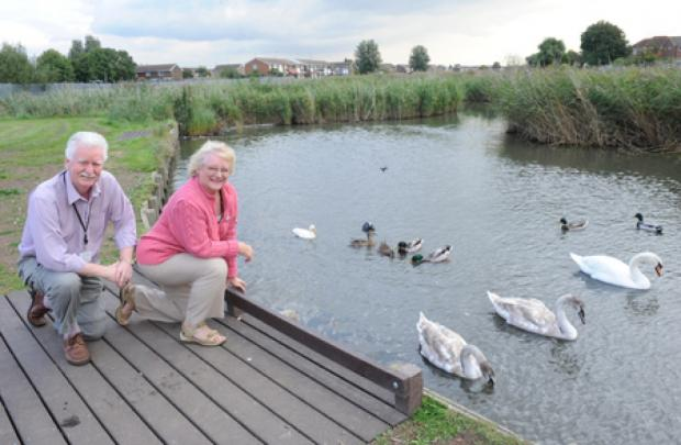 Haven – councillors John and Doreen Anderson at the cleaned-up Canvey Lake
