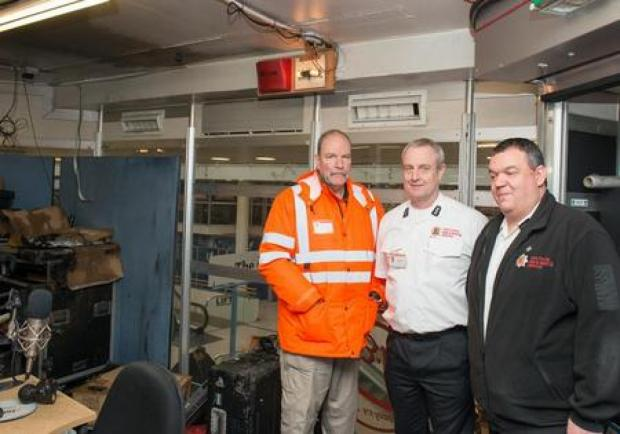 At the scene – Essex Fire Authority chairman Anthony Hedley, assistant divisional officer Mark Turnball and Basildon station manager Mike Sparrow